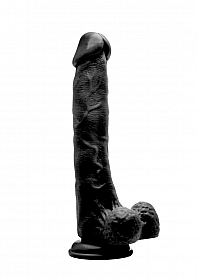 "Realistic Cock - 10"" - With Scrotum - Black"