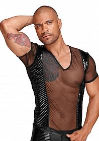 See-through T-Shirt with PVC pleats - Black