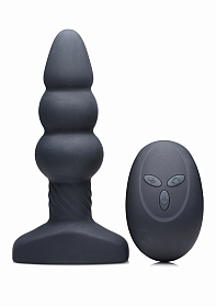 Slim I Rippled Rimming Plug with Remote Control - Black